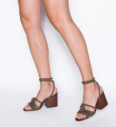 Sandália Block Heel Corda Lace-Up Green