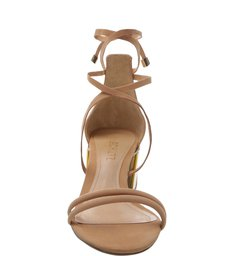 Sandália Chunky Heel Metallic Neutral