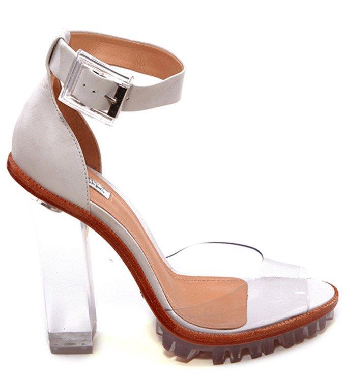 Sandália Salto Transparente Branca