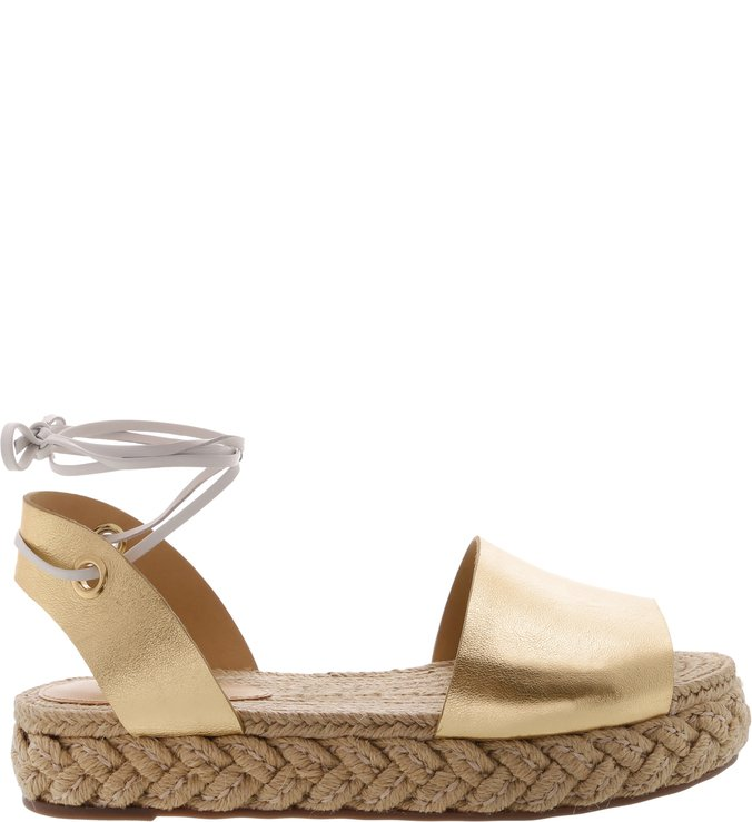 Flat Espadrille Couro Lace-Up Gold