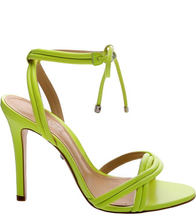 PRÉ VENDA Sandália Salto Alto Strings Neon Yellow