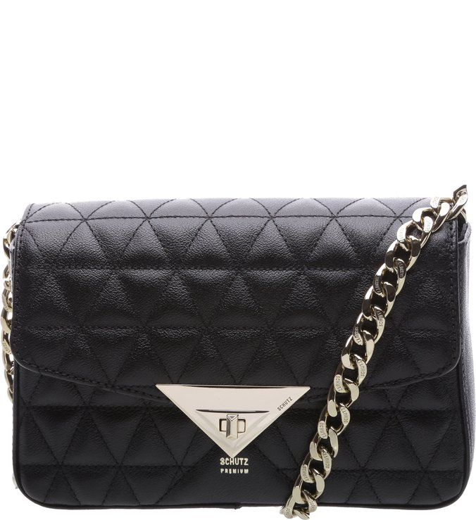 Mini Crossbody 944 Alça Dourada Black | Schutz