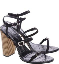 Sandália Salto Thin Stripes Black