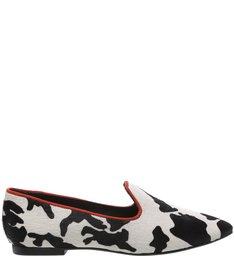 Mocassim Cow Print White