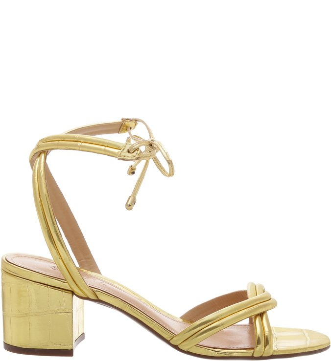 Sandália Block heel Lace-up Golden