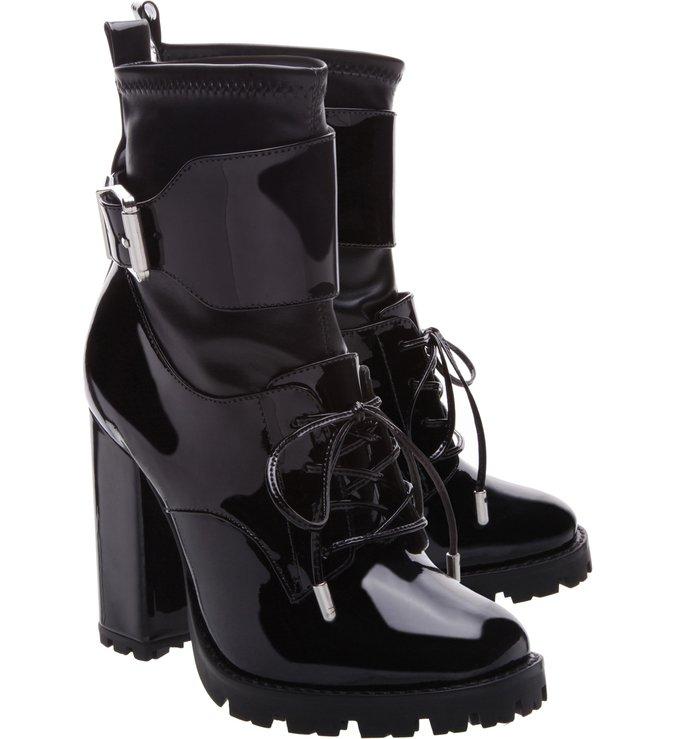 Combat Boot Stretch Verniz Black