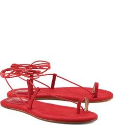 Sandália Rasteira Lace Up Red