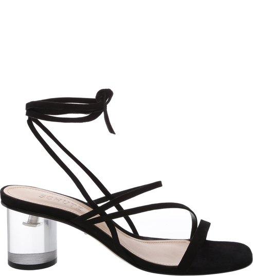 Sandália Crystal Heel Strings Black