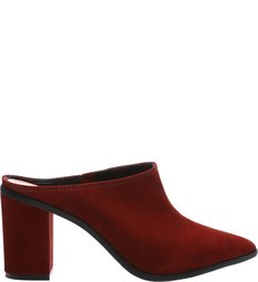 56b9950b02  PRÉ-VENDA  Mule Nobuck Block Heel Red