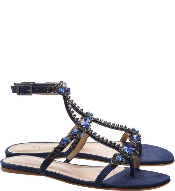 Sandália Rasteira Spikes Blue