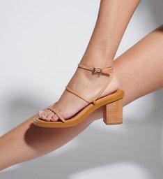 Sandália Block Heel Strings Caramel