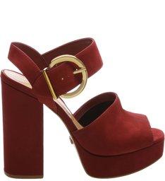 Sandália Block Heel Fivela Dourada Red Wine