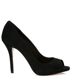 Peep Toe Nobuck Black
