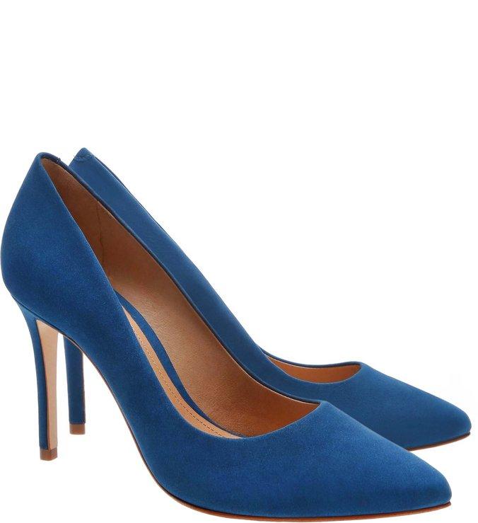 7314d4a9c4 Scarpin Classic Nobuck Blue