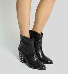 Bota New Western Croco Studs Black