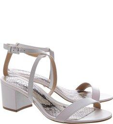 Sandália Block Heel Minimal Python White