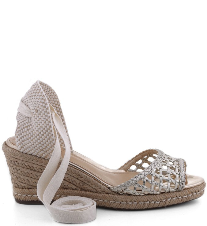 Espadrille Lace Up Cage Metalizado