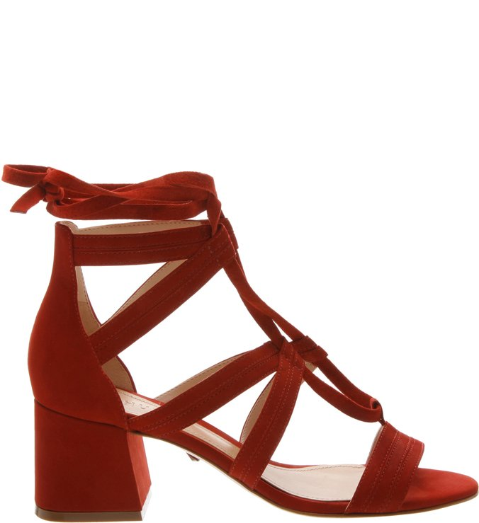Sandália Block Heel Lace-Up Nobuck Red