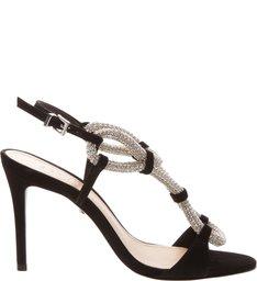 Sandália Salto Crystal Rope Black