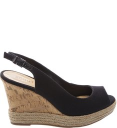 Wedge Slingback Cortiça Black