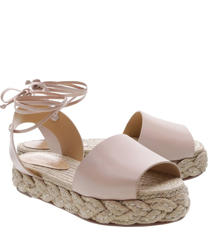 Flat Espadrille Couro Lace-Up Nude