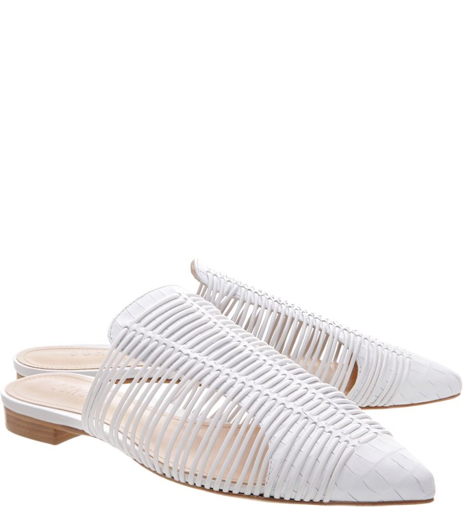 Flat Mule Natural Stripes White