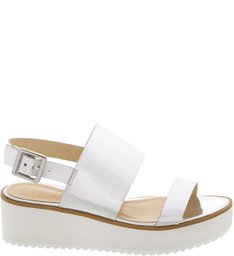 Flatform White Sole Double Straps Prata