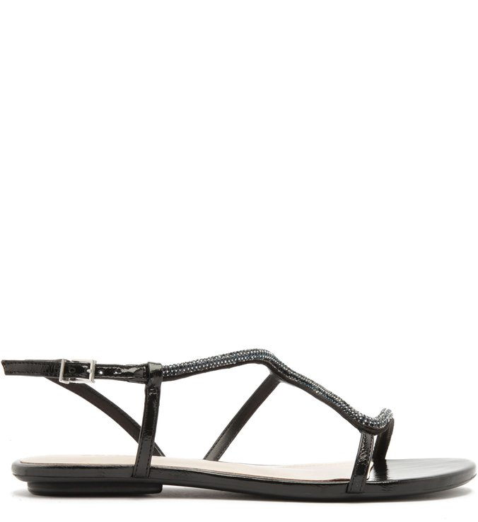 Sandália Rasteira Curves Glam Black | Schutz