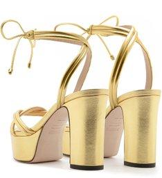 Sandália Meia Pata Lace-Up Dourada