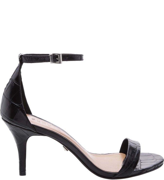 Sandália Gisele Kitten Heel Croco Black