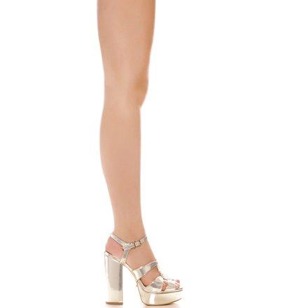 Sandália Block Heel Tiras Platina