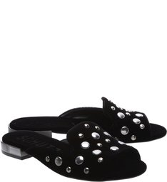 Open Toe Mule Studs Black