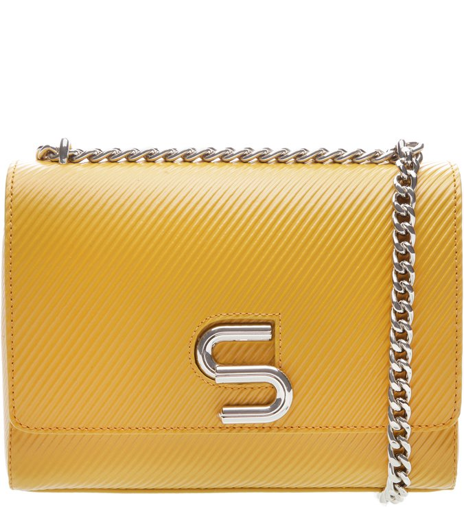 The S Bag Couro Média Rib Yellow | Schutz