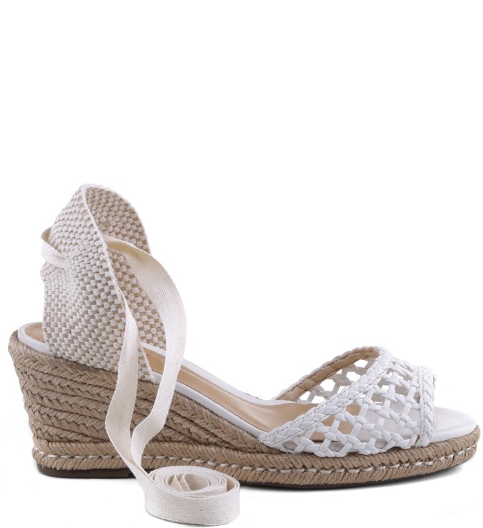 Espadrille Lace Up Cage Pearl