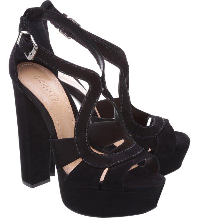 Sandália Salto Grosso Curves Black