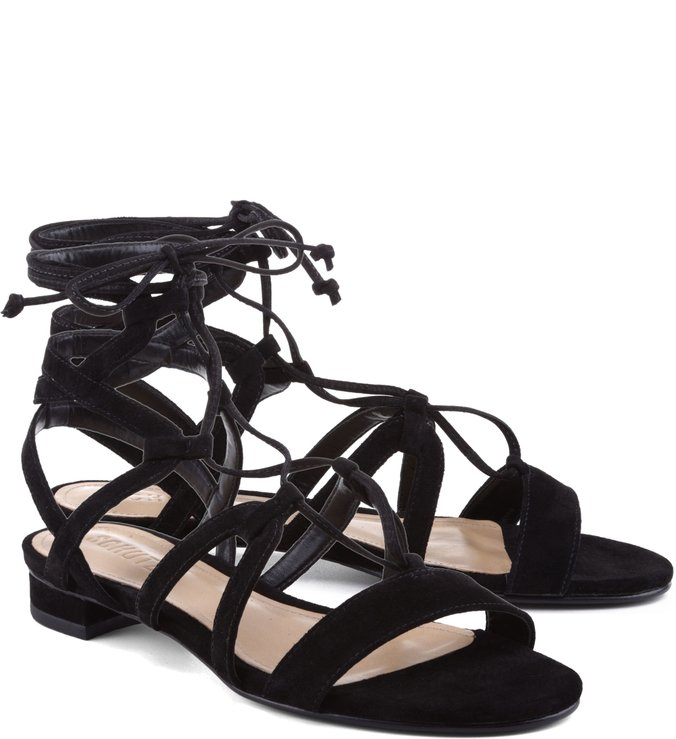Flat Tied Up Sandals Black