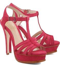 Sandália Meia Pata Tiras Hot Pink