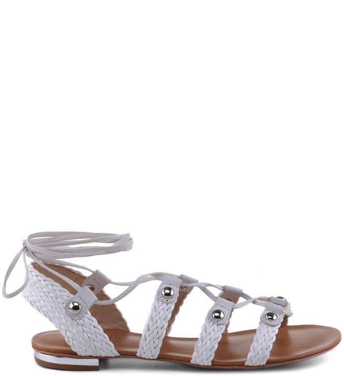 Rasteira Lace Up Tachas Pearl