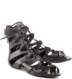 Sandália Flat Lace Up Black
