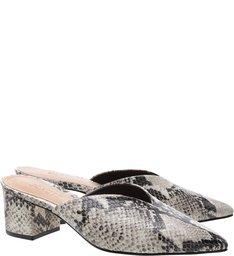 Mule Block Heel Cava Python