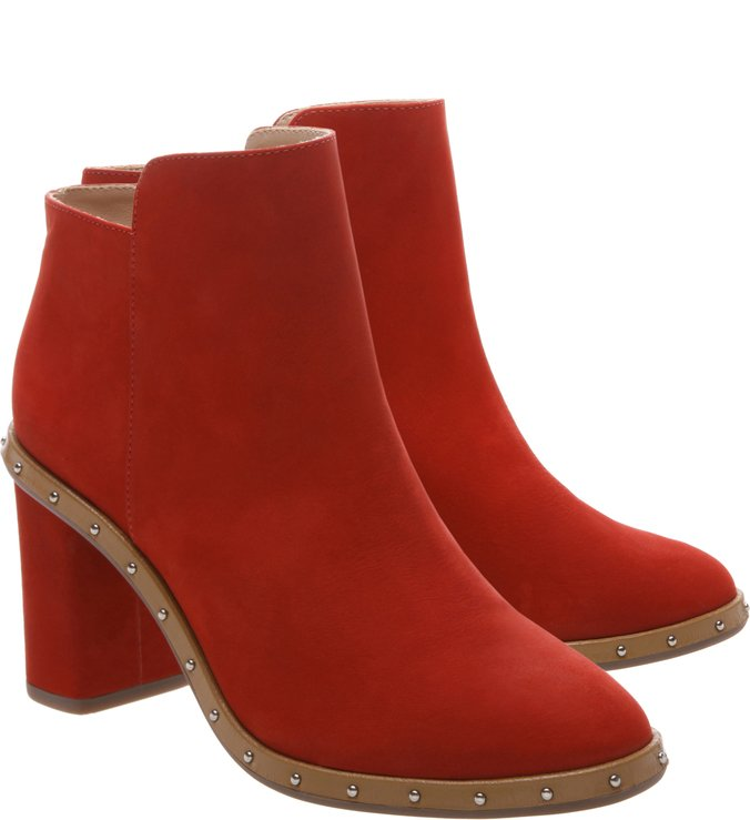 Ankle Boot Studs Nobuck Red