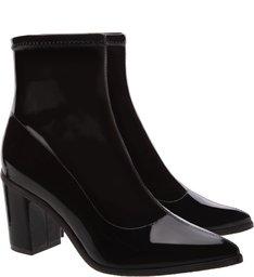 Sock Boot Block Heel Verniz Preta