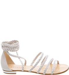 Flat Multistraps Lace Up Pearl