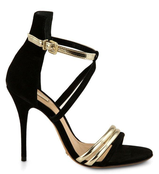 Sandália Tiras Dourada E Preta