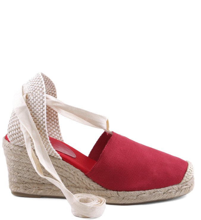 Espadrille Lace Up Red