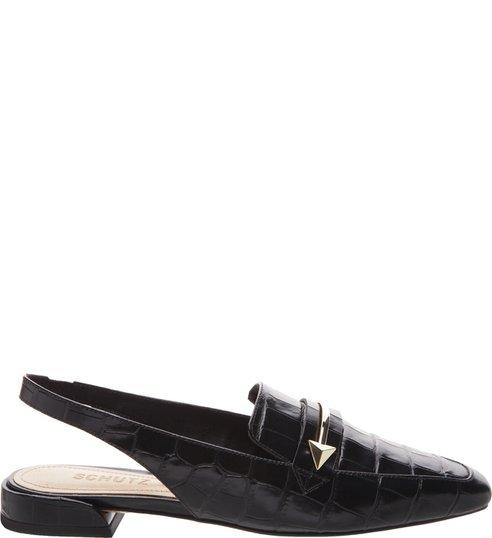 Flat Mule Slingback Croco Black