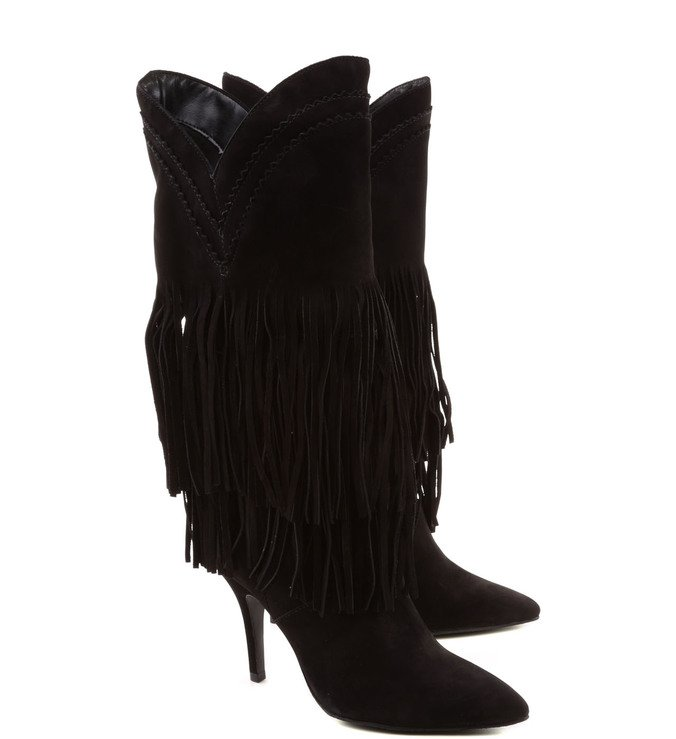 Bota Fringes Suede Black