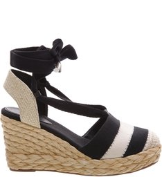 Espadrille Single Stripe Black/Cru/Natural