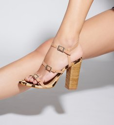 Sandália Salto Thin Stripes Honey