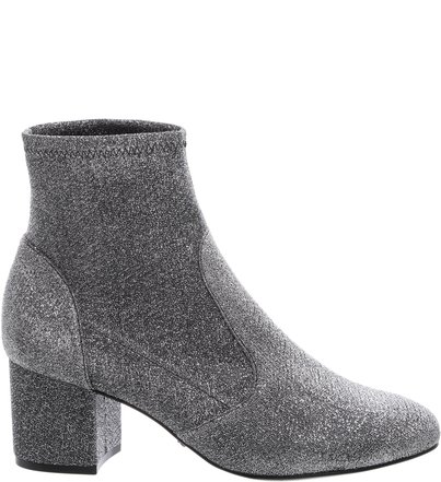 Stretch Boot Block Heels Prata
